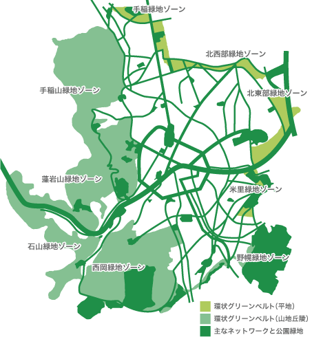 環状グリーンベルトのマップ